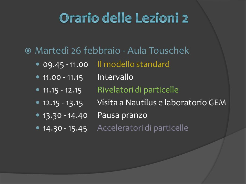 Martedì 26 febbraio - Aula Touschek 09.45 - 11.00Il modello standard 11.00 - 11.15Intervallo 11.15 - 12.15Rivelatori di particelle 12.15 - 13.15Visita a Nautilus e laboratorio GEM 13.30 - 14.40Pausa pranzo 14.30 - 15.45Acceleratori di particelle