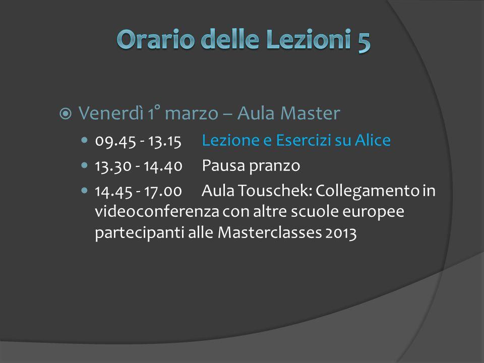 Venerdì 1° marzo – Aula Master 09.45 - 13.15Lezione e Esercizi su Alice 13.30 - 14.40Pausa pranzo 14.45 - 17.00Aula Touschek: Collegamento in videocon