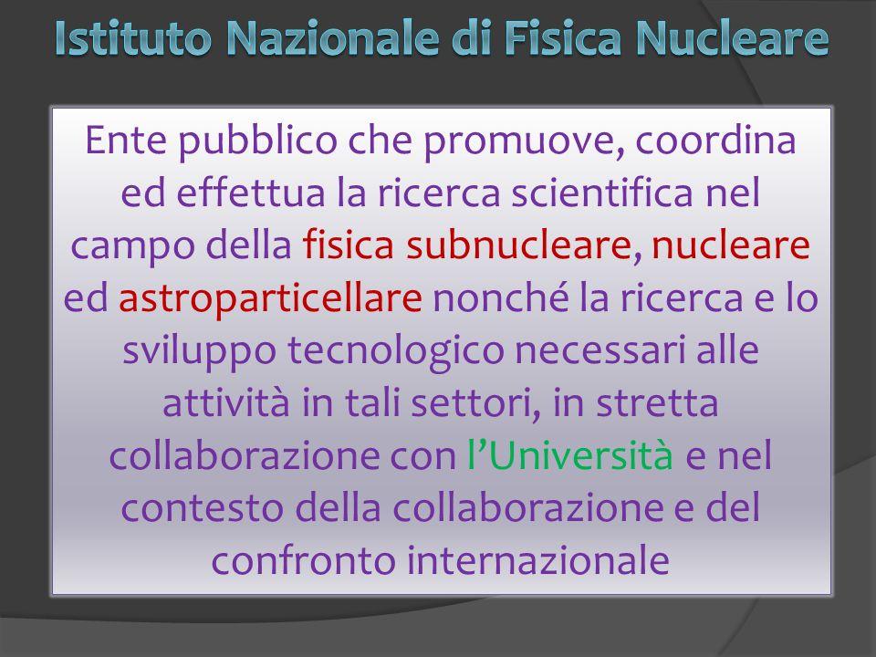 Ente pubblico che promuove, coordina ed effettua la ricerca scientifica nel campo della fisica subnucleare, nucleare ed astroparticellare nonché la ricerca e lo sviluppo tecnologico necessari alle attività in tali settori, in stretta collaborazione con lUniversità e nel contesto della collaborazione e del confronto internazionale