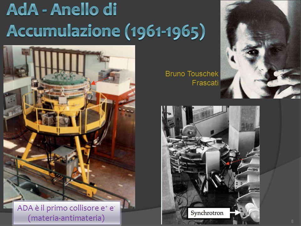 8 ADA è il primo collisore e + e - (materia-antimateria) Bruno Touschek Frascati