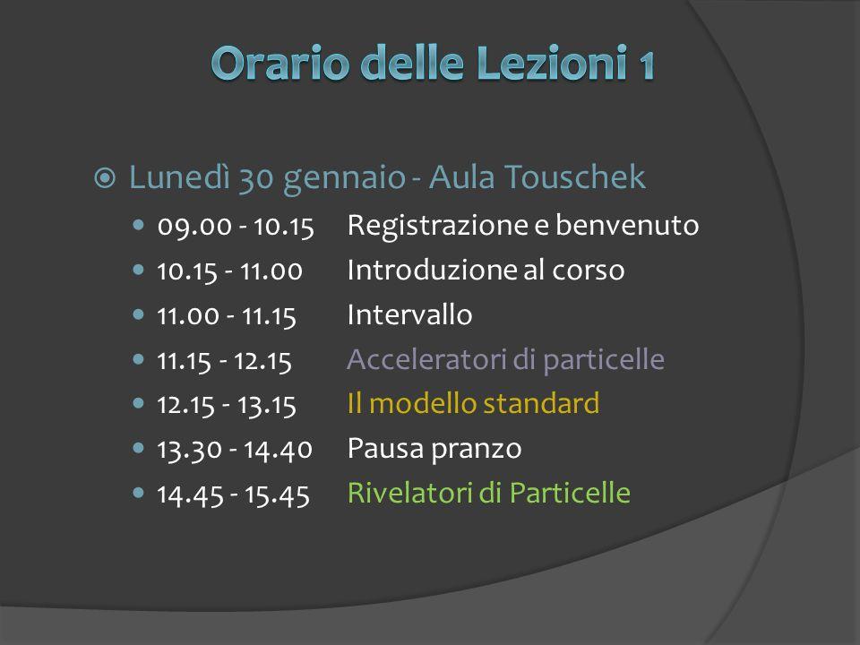 Lunedì 30 gennaio - Aula Touschek 09.00 - 10.15Registrazione e benvenuto 10.15 - 11.00Introduzione al corso 11.00 - 11.15Intervallo 11.15 - 12.15Acceleratori di particelle 12.15 - 13.15Il modello standard 13.30 - 14.40Pausa pranzo 14.45 - 15.45Rivelatori di Particelle