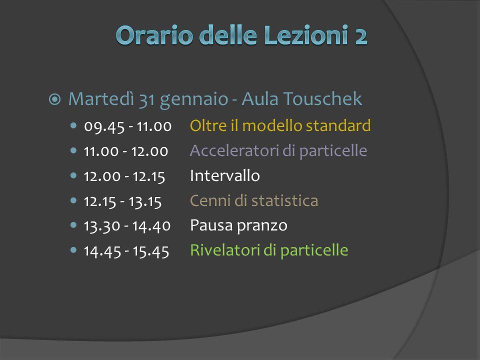 Martedì 31 gennaio - Aula Touschek 09.45 - 11.00Oltre il modello standard 11.00 - 12.00Acceleratori di particelle 12.00 - 12.15Intervallo 12.15 - 13.15Cenni di statistica 13.30 - 14.40Pausa pranzo 14.45 - 15.45Rivelatori di particelle