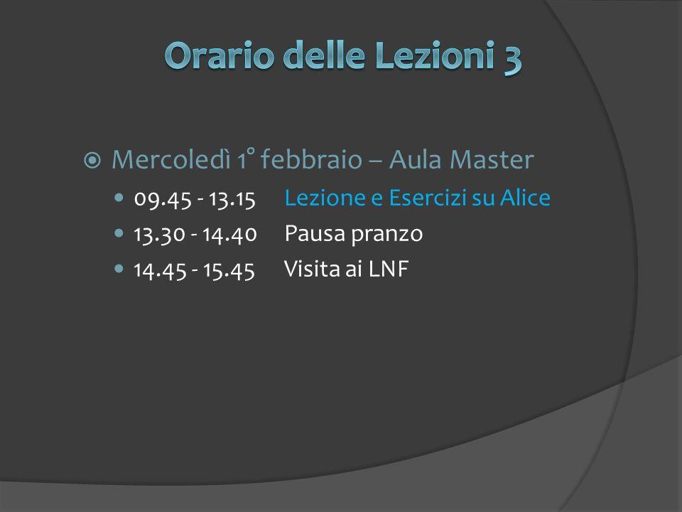 Mercoledì 1° febbraio – Aula Master 09.45 - 13.15Lezione e Esercizi su Alice 13.30 - 14.40Pausa pranzo 14.45 - 15.45Visita ai LNF