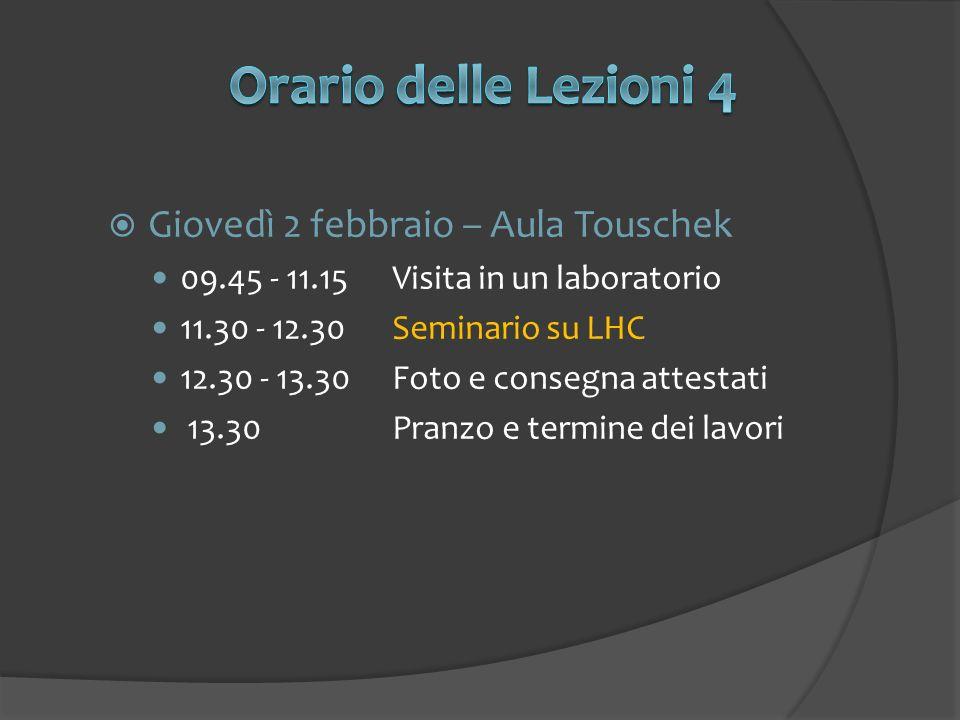 Giovedì 2 febbraio – Aula Touschek 09.45 - 11.15Visita in un laboratorio 11.30 - 12.30Seminario su LHC 12.30 - 13.30Foto e consegna attestati 13.30Pra
