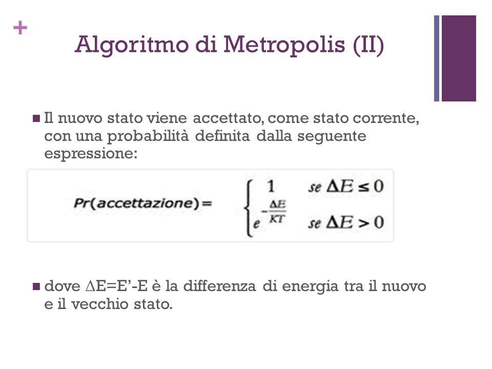 + Algoritmo di Metropolis (II) Il nuovo stato viene accettato, come stato corrente, con una probabilità definita dalla seguente espressione: dove Δ E=