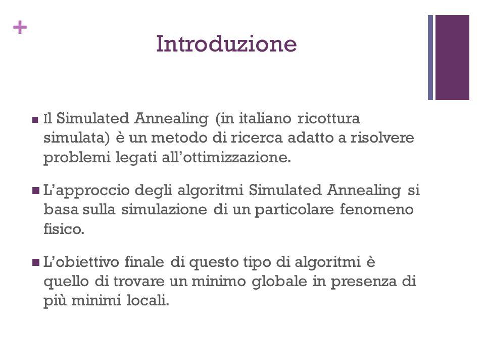 + Introduzione I l Simulated Annealing (in italiano ricottura simulata) è un metodo di ricerca adatto a risolvere problemi legati allottimizzazione. L