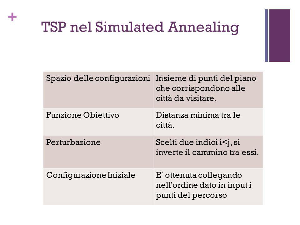 + TSP nel Simulated Annealing Spazio delle configurazioniInsieme di punti del piano che corrispondono alle città da visitare. Funzione ObiettivoDistan