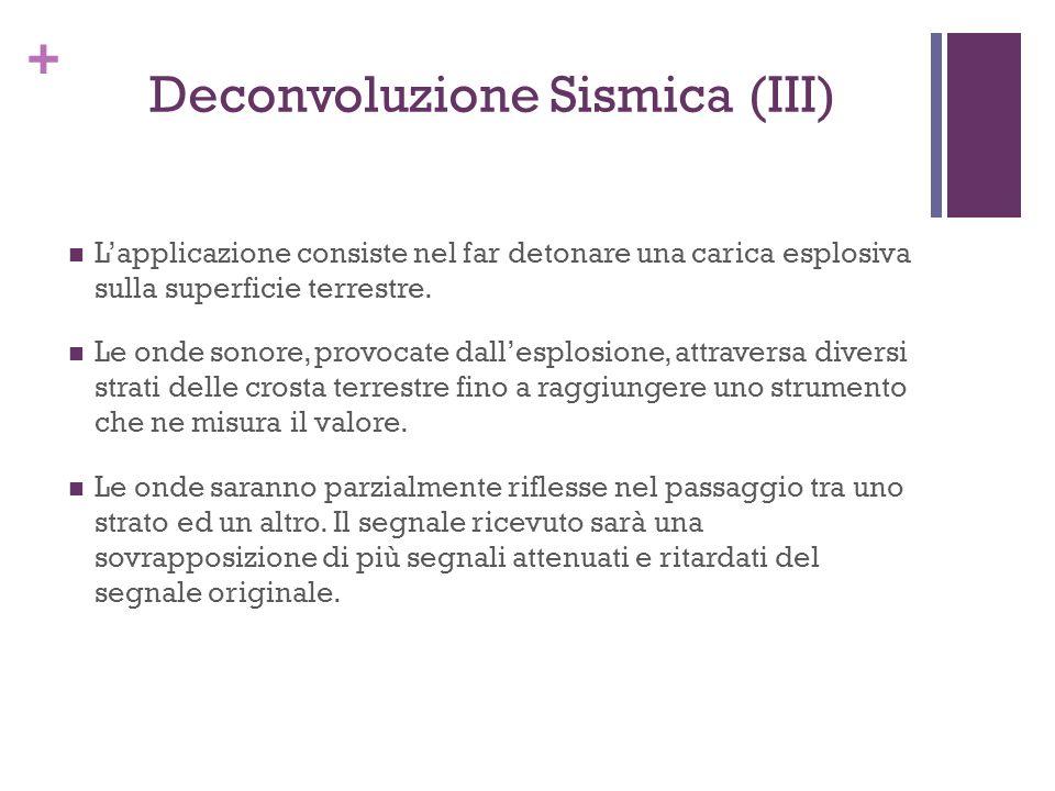 + Deconvoluzione Sismica (III) Lapplicazione consiste nel far detonare una carica esplosiva sulla superficie terrestre. Le onde sonore, provocate dall