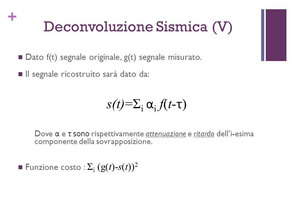 + Deconvoluzione Sismica (V) Dato f(t) segnale originale, g(t) segnale misurato. Il segnale ricostruito sarà dato da: s(t)=Σ i α i f(t- τ ) Dove α e τ