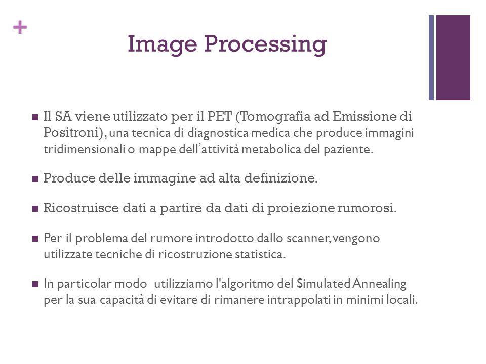 + Image Processing Il SA viene utilizzato per il PET (Tomografia ad Emissione di Positroni), una tecnica di diagnostica medica che produce immagini tr