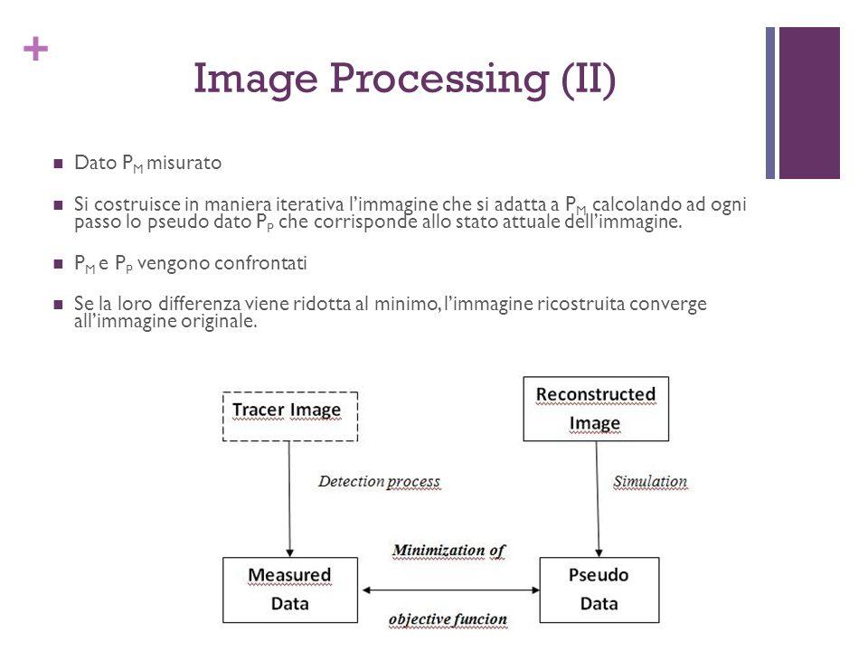 + Image Processing (II) Dato P M misurato Si costruisce in maniera iterativa limmagine che si adatta a P M calcolando ad ogni passo lo pseudo dato P P