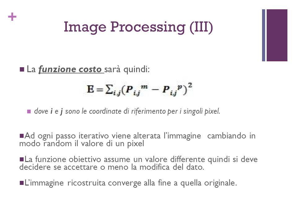 + Image Processing (III) La funzione costo sarà quindi: dove i e j sono le coordinate di riferimento per i singoli pixel. Ad ogni passo iterativo vien