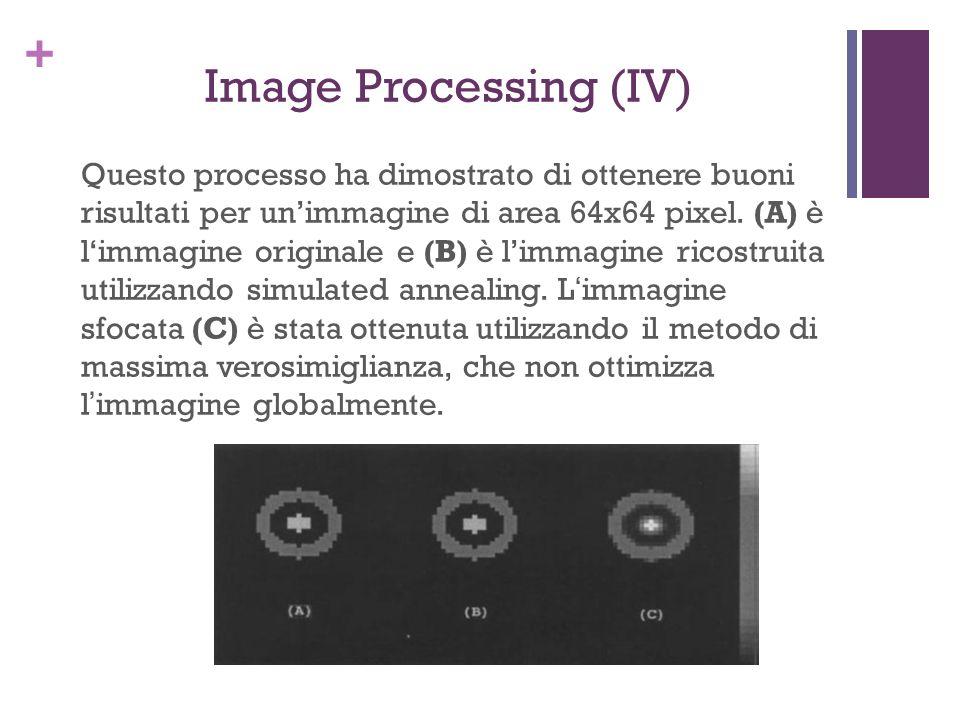+ Image Processing (IV) Questo processo ha dimostrato di ottenere buoni risultati per unimmagine di area 64x64 pixel. (A) è limmagine originale e (B)