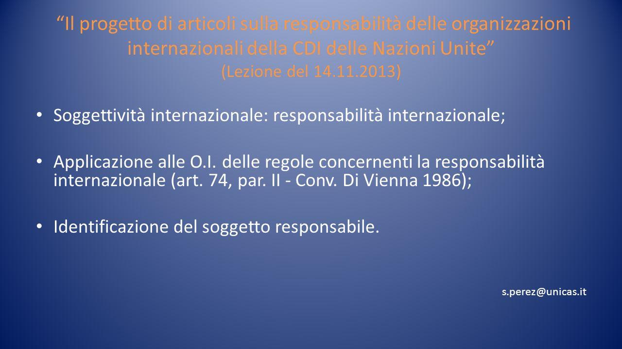 Responsabilità delle O.I.
