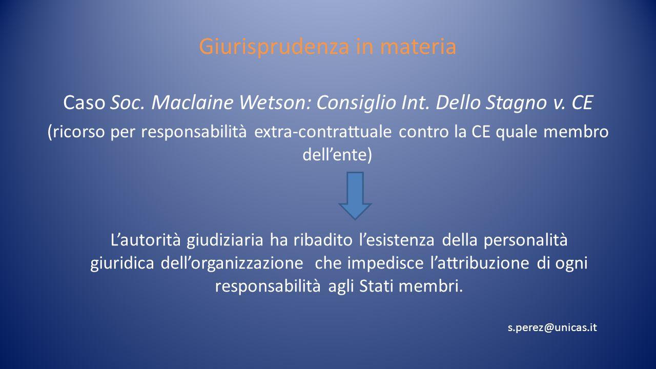 Accordi misti Nelle Convenzioni multilaterali aperte si inseriscono clausole di responsabilità Esempi: Convenzione Onu sul diritto del mare; Atto istitutivo FAO (si limitano le competenze delle O.I.