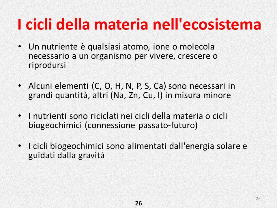 I cicli della materia nell'ecosistema 26 Un nutriente è qualsiasi atomo, ione o molecola necessario a un organismo per vivere, crescere o riprodursi A