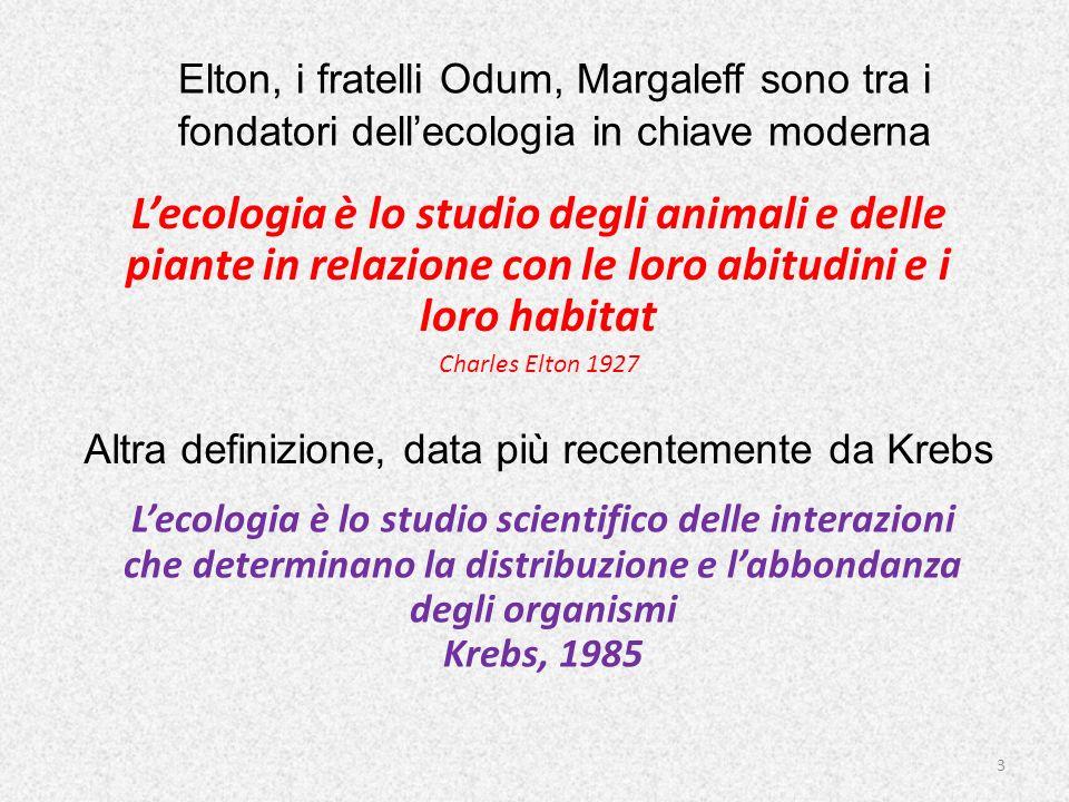 Elton, i fratelli Odum, Margaleff sono tra i fondatori dellecologia in chiave moderna Lecologia è lo studio degli animali e delle piante in relazione
