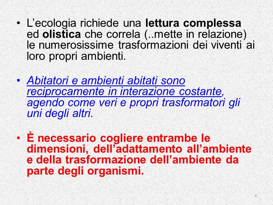 Lecologia richiede una lettura complessa ed olistica che correla (..mette in relazione) le numerosissime trasformazioni dei viventi ai loro propri amb