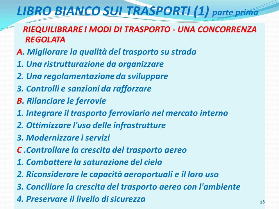 LIBRO BIANCO SUI TRASPORTI (1) parte prima RIEQUILIBRARE I MODI DI TRASPORTO - UNA CONCORRENZA REGOLATA A. Migliorare la qualità del trasporto su stra