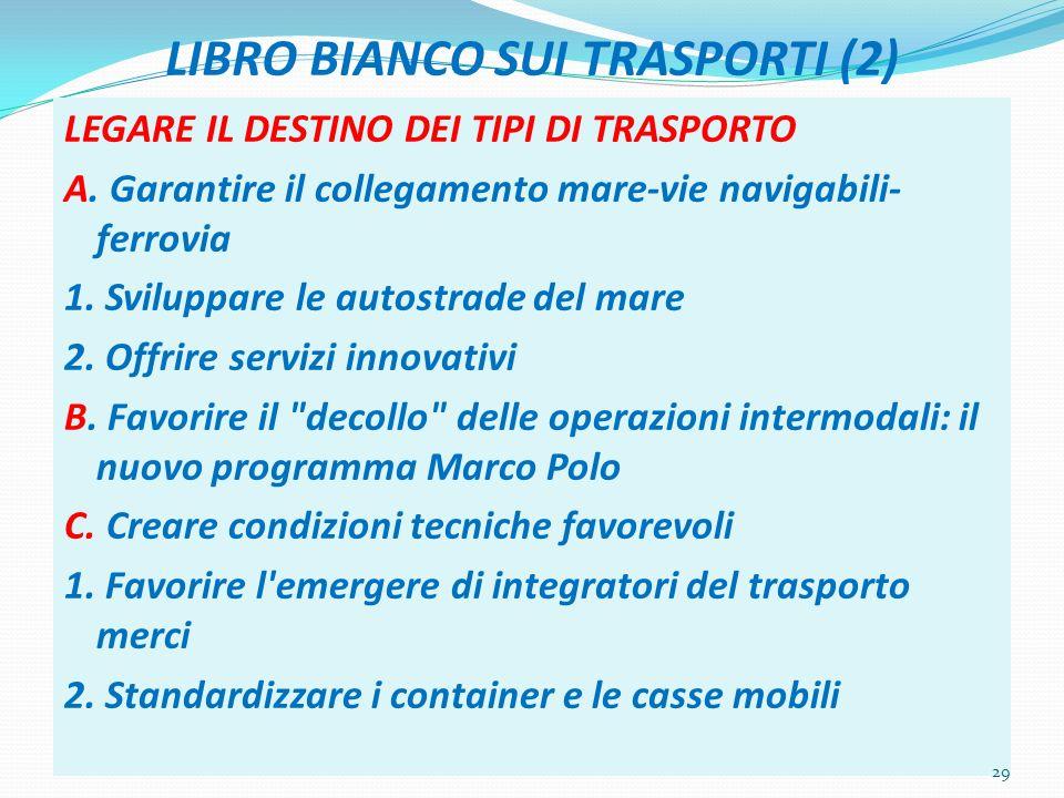 LIBRO BIANCO SUI TRASPORTI (2) LEGARE IL DESTINO DEI TIPI DI TRASPORTO A. Garantire il collegamento mare-vie navigabili- ferrovia 1. Sviluppare le aut