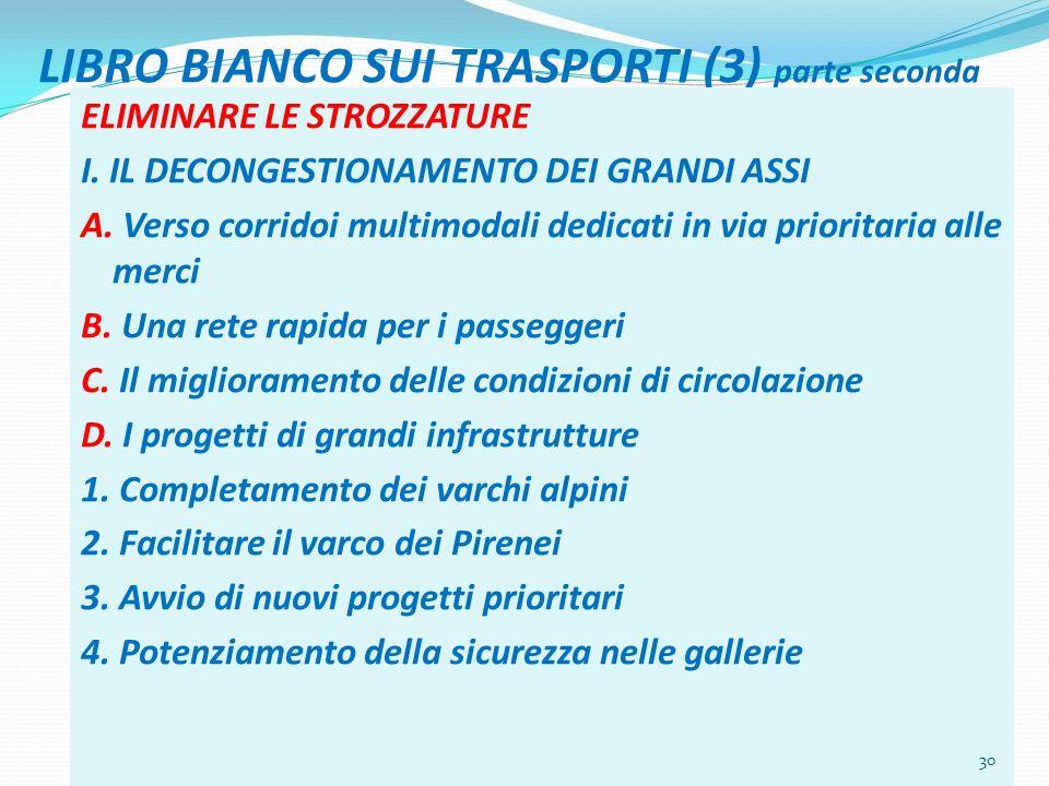 LIBRO BIANCO SUI TRASPORTI (3) parte seconda ELIMINARE LE STROZZATURE I. IL DECONGESTIONAMENTO DEI GRANDI ASSI A. Verso corridoi multimodali dedicati