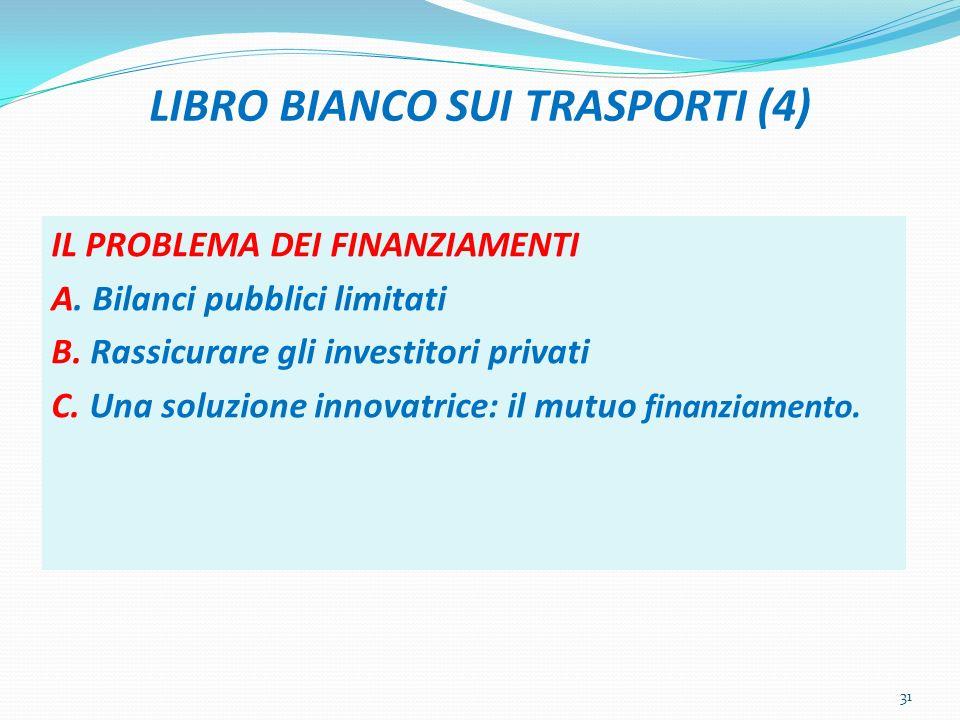 LIBRO BIANCO SUI TRASPORTI (4) IL PROBLEMA DEI FINANZIAMENTI A. Bilanci pubblici limitati B. Rassicurare gli investitori privati C. Una soluzione inno
