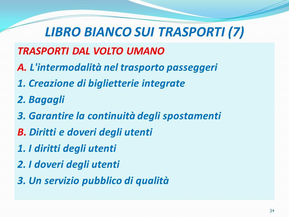 LIBRO BIANCO SUI TRASPORTI (7) TRASPORTI DAL VOLTO UMANO A. L'intermodalità nel trasporto passeggeri 1. Creazione di biglietterie integrate 2. Bagagli