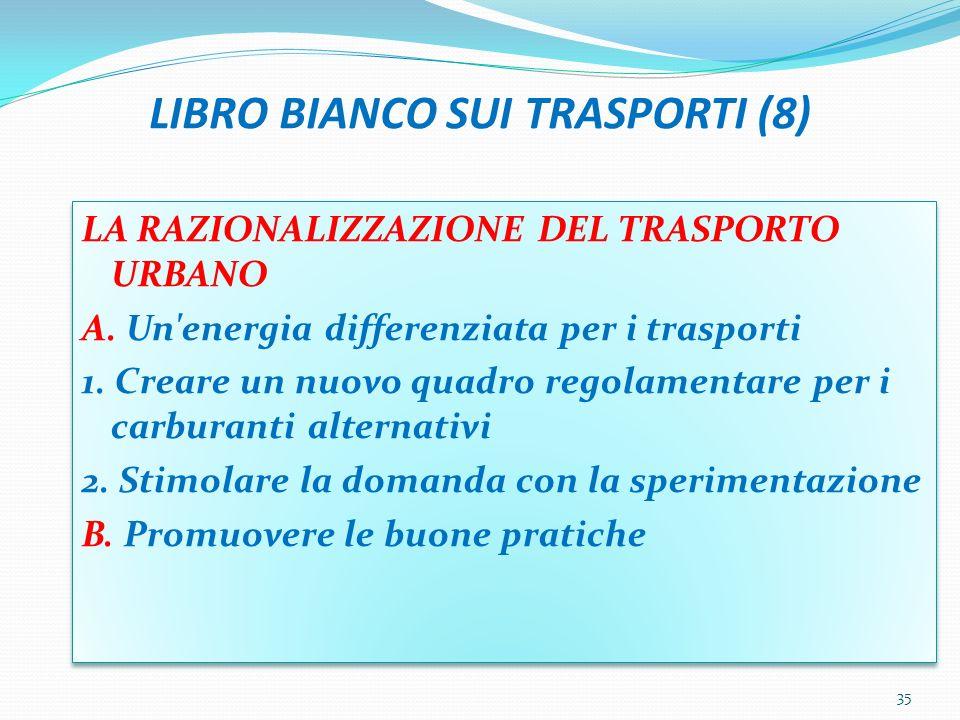 LIBRO BIANCO SUI TRASPORTI (8) LA RAZIONALIZZAZIONE DEL TRASPORTO URBANO A. Un'energia differenziata per i trasporti 1. Creare un nuovo quadro regolam