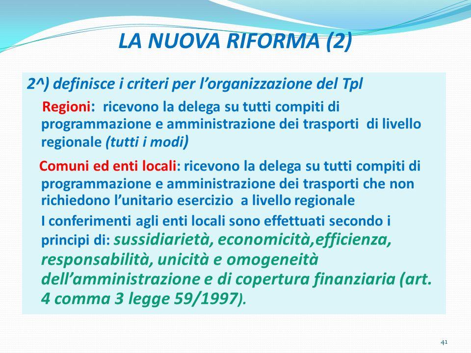 LA NUOVA RIFORMA (2) 2^) definisce i criteri per lorganizzazione del Tpl Regioni : ricevono la delega su tutti compiti di programmazione e amministraz