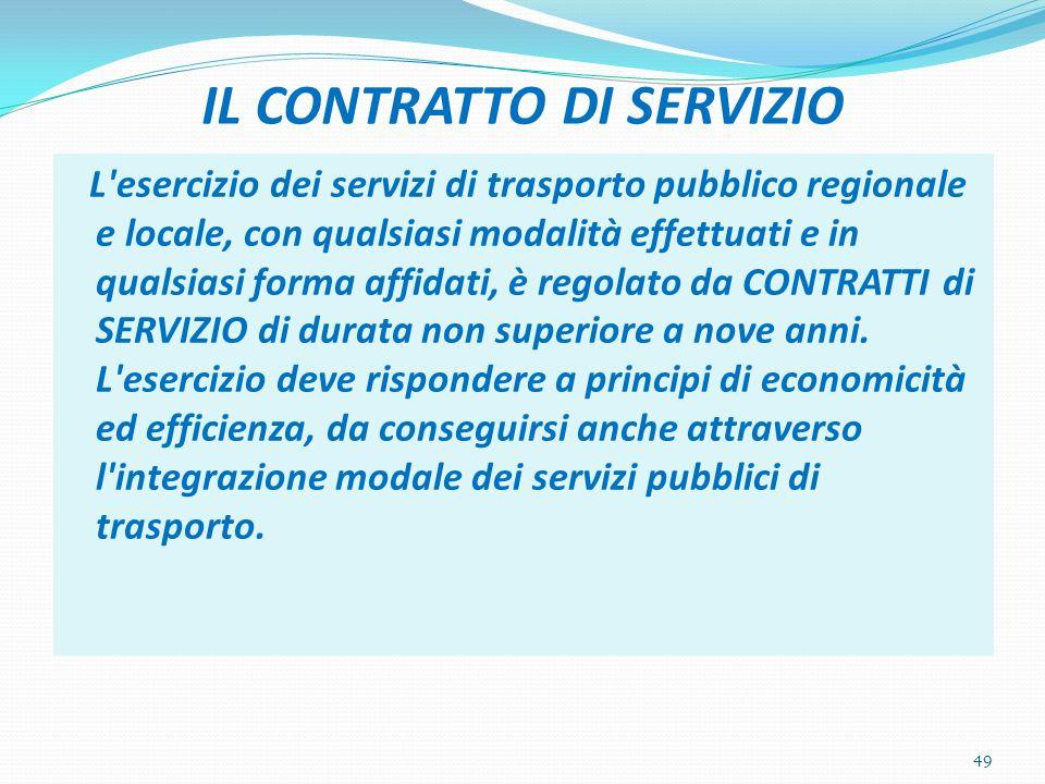 IL CONTRATTO DI SERVIZIO L'esercizio dei servizi di trasporto pubblico regionale e locale, con qualsiasi modalità effettuati e in qualsiasi forma affi