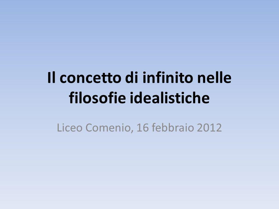 Il concetto di infinito nelle filosofie idealistiche Liceo Comenio, 16 febbraio 2012