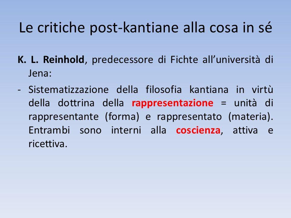 Le critiche post-kantiane alla cosa in sé K. L. Reinhold, predecessore di Fichte alluniversità di Jena: -Sistematizzazione della filosofia kantiana in