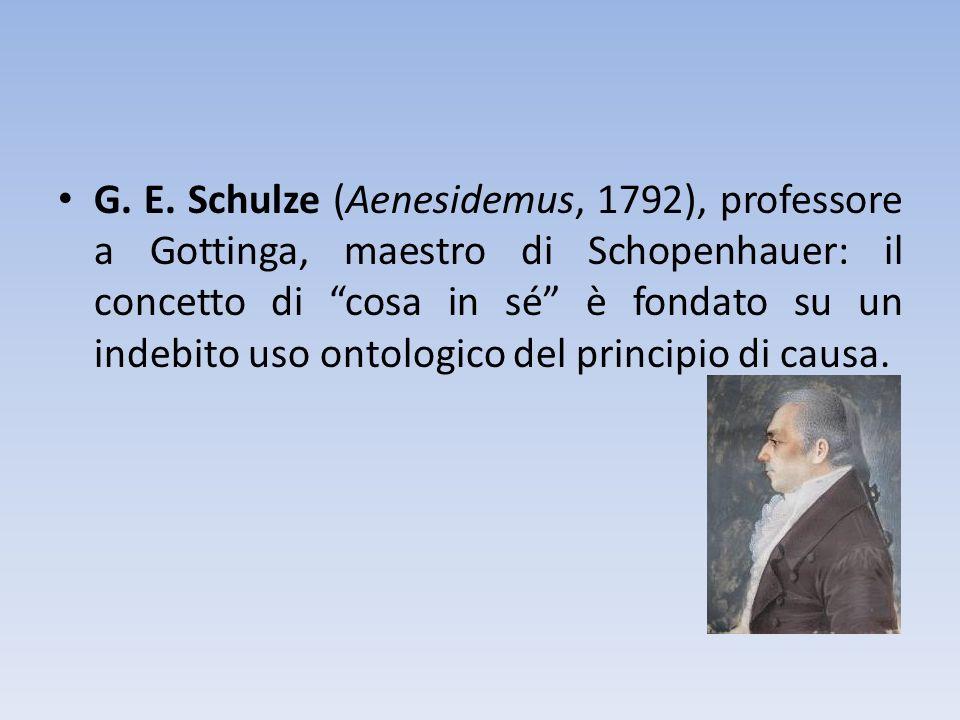 G. E. Schulze (Aenesidemus, 1792), professore a Gottinga, maestro di Schopenhauer: il concetto di cosa in sé è fondato su un indebito uso ontologico d