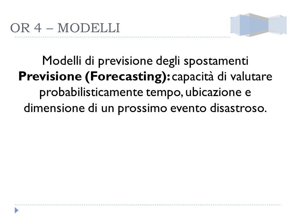 OR 4 – MODELLI Modelli di previsione degli spostamenti Previsione (Forecasting): capacità di valutare probabilisticamente tempo, ubicazione e dimensio