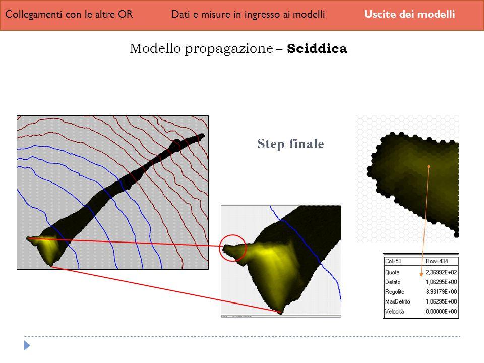Collegamenti con le altre ORDati e misure in ingresso ai modelliUscite dei modelli Modello propagazione – Sciddica Step finale