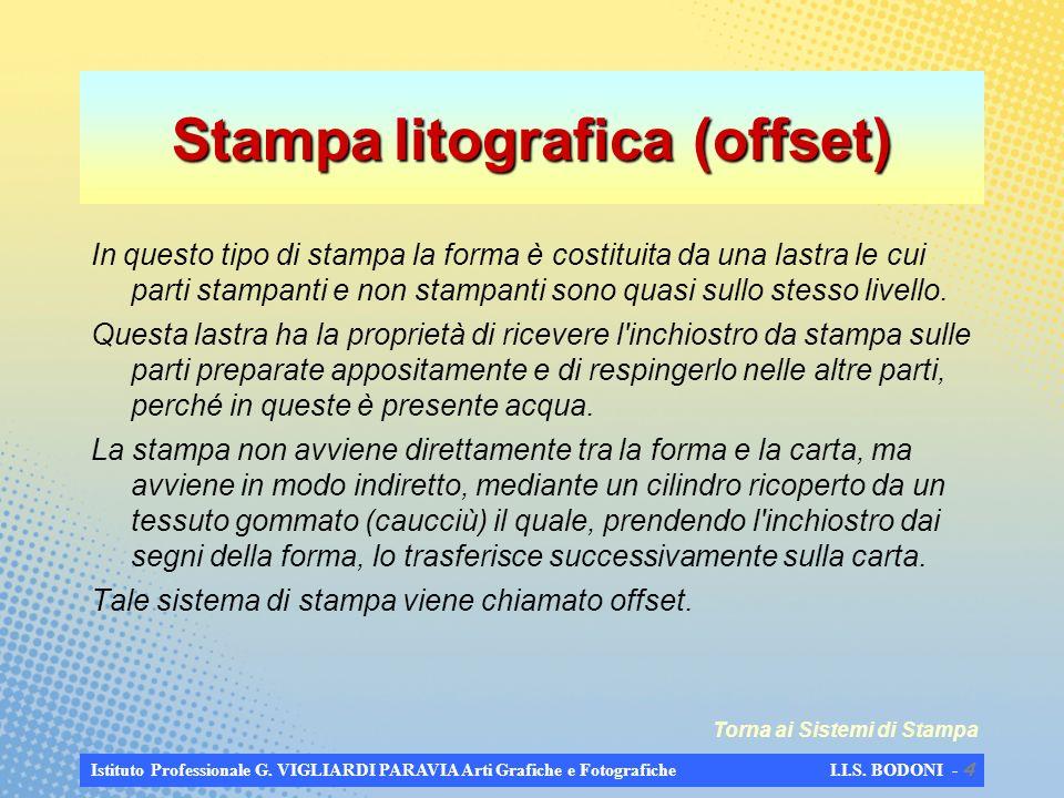 Istituto Professionale G. VIGLIARDI PARAVIA Arti Grafiche e Fotografiche I.I.S. BODONI - 3 Stampa tipografica Il procedimento di stampa con forma in r