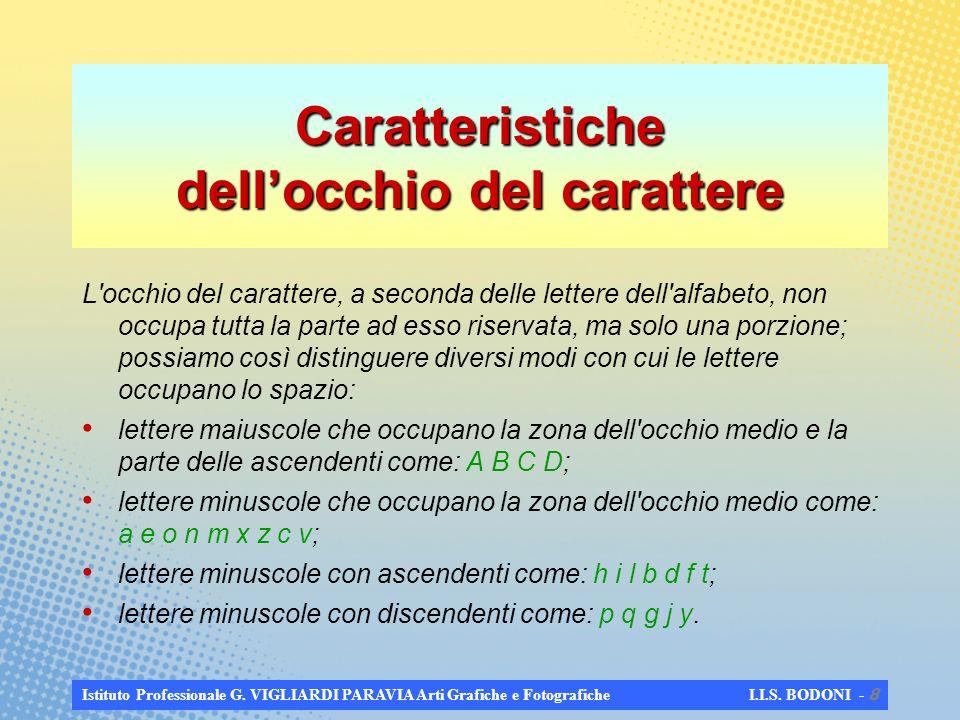 Istituto Professionale G. VIGLIARDI PARAVIA Arti Grafiche e Fotografiche I.I.S. BODONI - 7 CARATTERE Le parti principali del carattere sono: corpo (1)