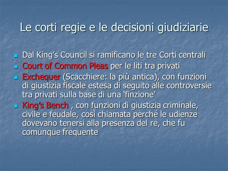 Le corti regie e le decisioni giudiziarie Dal Kings Council si ramificano le tre Corti centrali Dal Kings Council si ramificano le tre Corti centrali