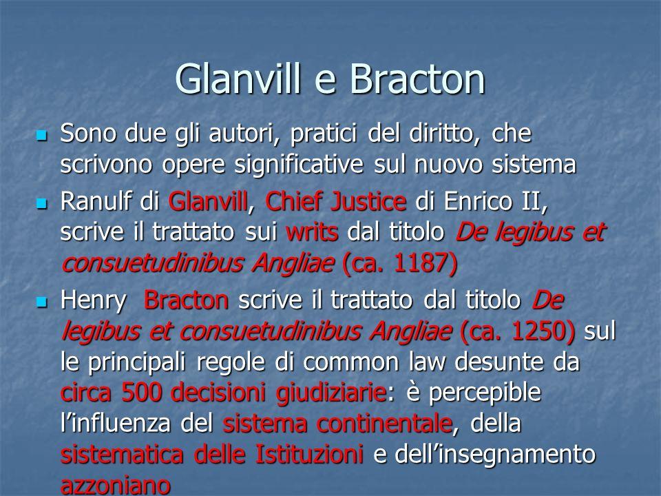 Glanvill e Bracton Sono due gli autori, pratici del diritto, che scrivono opere significative sul nuovo sistema Sono due gli autori, pratici del dirit