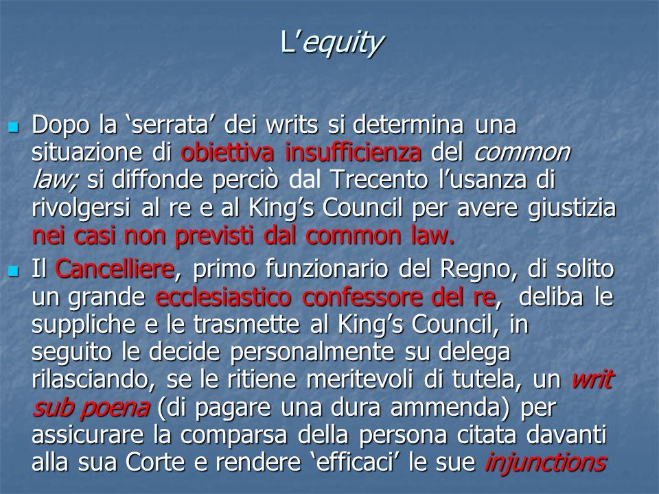 Lequity Dopo la serrata dei writs si determina una situazione di obiettiva insufficienza del common law; si diffonde perciò Trecento lusanza di rivolg
