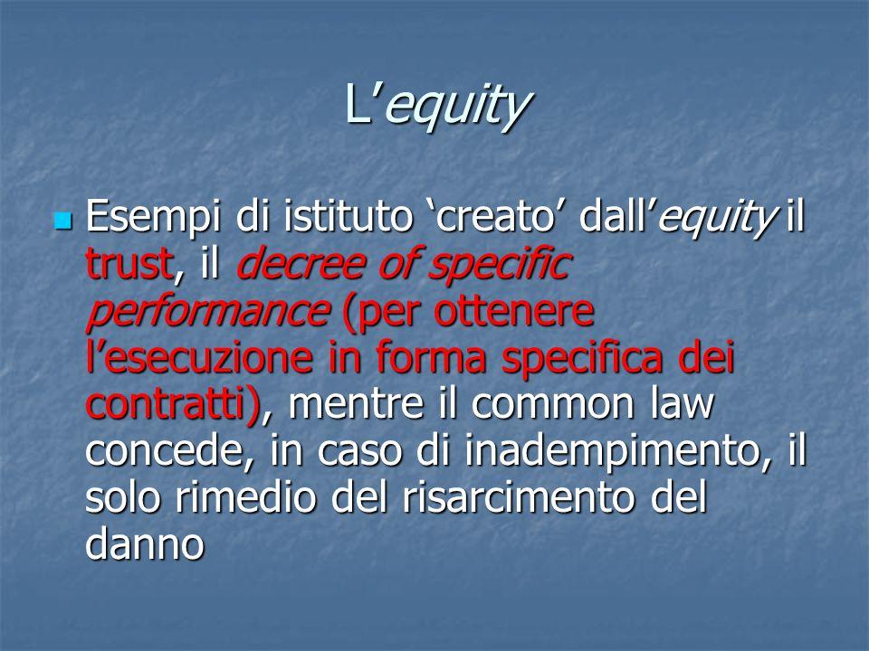 Lequity Esempi di istituto creato dallequity il trust, il decree of specific performance (per ottenere lesecuzione in forma specifica dei contratti),