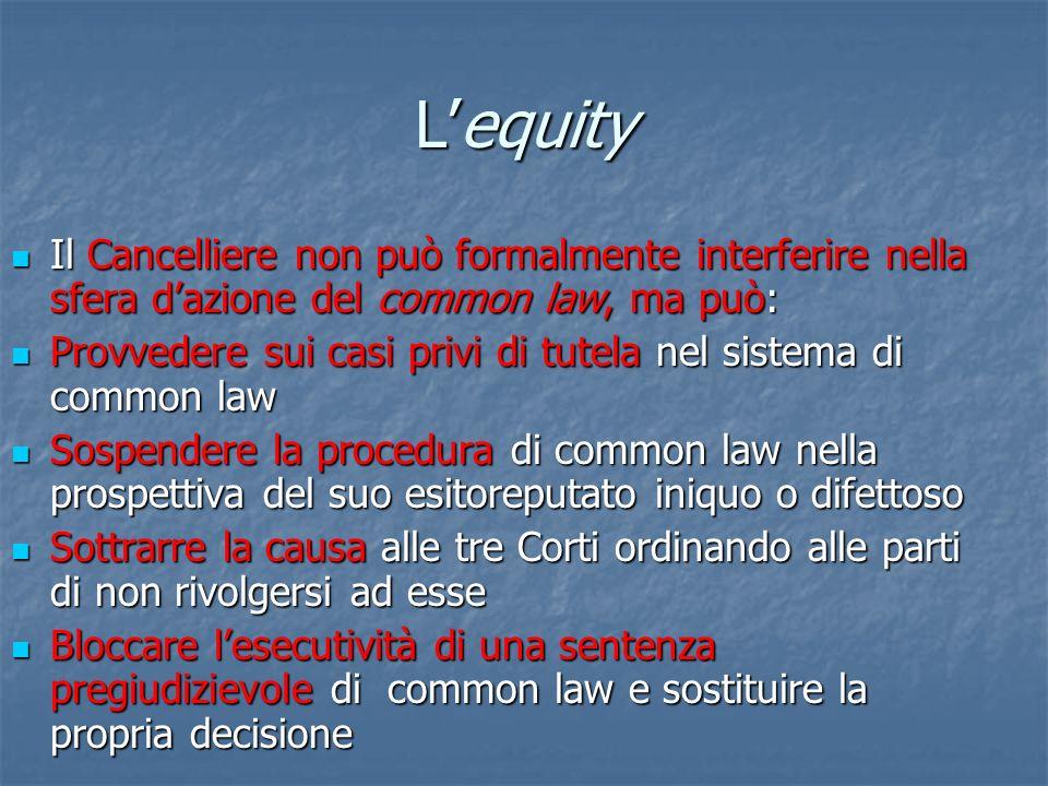 Lequity Il Cancelliere non può formalmente interferire nella sfera dazione del common law, ma può: Il Cancelliere non può formalmente interferire nell