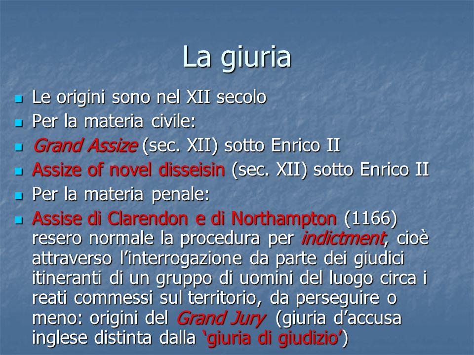La giuria Le origini sono nel XII secolo Le origini sono nel XII secolo Per la materia civile: Per la materia civile: Grand Assize (sec. XII) sotto En