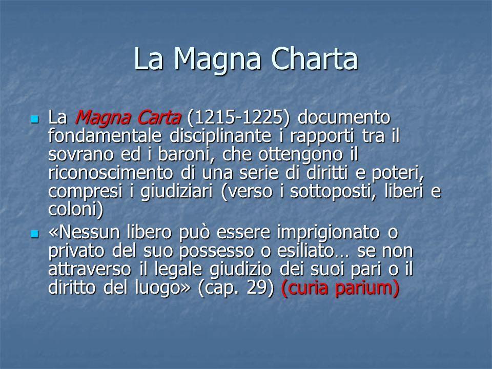 La Magna Charta La Magna Carta (1215-1225) documento fondamentale disciplinante i rapporti tra il sovrano ed i baroni, che ottengono il riconoscimento