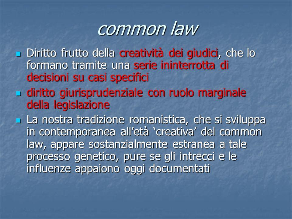 common law Diritto frutto della creatività dei giudici, che lo formano tramite una serie ininterrotta di decisioni su casi specifici Diritto frutto de