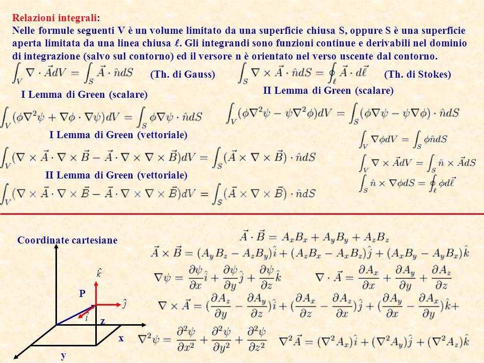Moltiplicazione di Vettori: Relazioni differenziali: In quanto segue e sono campi scalari, A e B campi vettoriali, tutti continui e derivabile almeno 2 volte nel loro dominio di definizione.