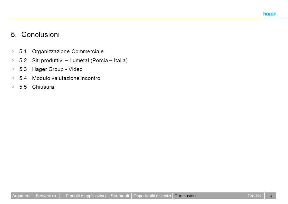 Benvenuto Credits Prodotti e applicazioniStrumentiOpportunità e serviziConclusioniArgomenti 4 5. Conclusioni > 5.1 Organizzazione Commerciale > 5.2 Si