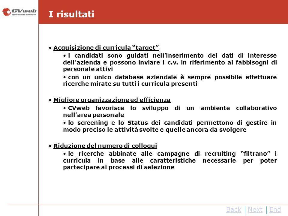 NextEndBack I risultati Acquisizione di curricula target i candidati sono guidati nellinserimento dei dati di interesse dellazienda e possono inviare