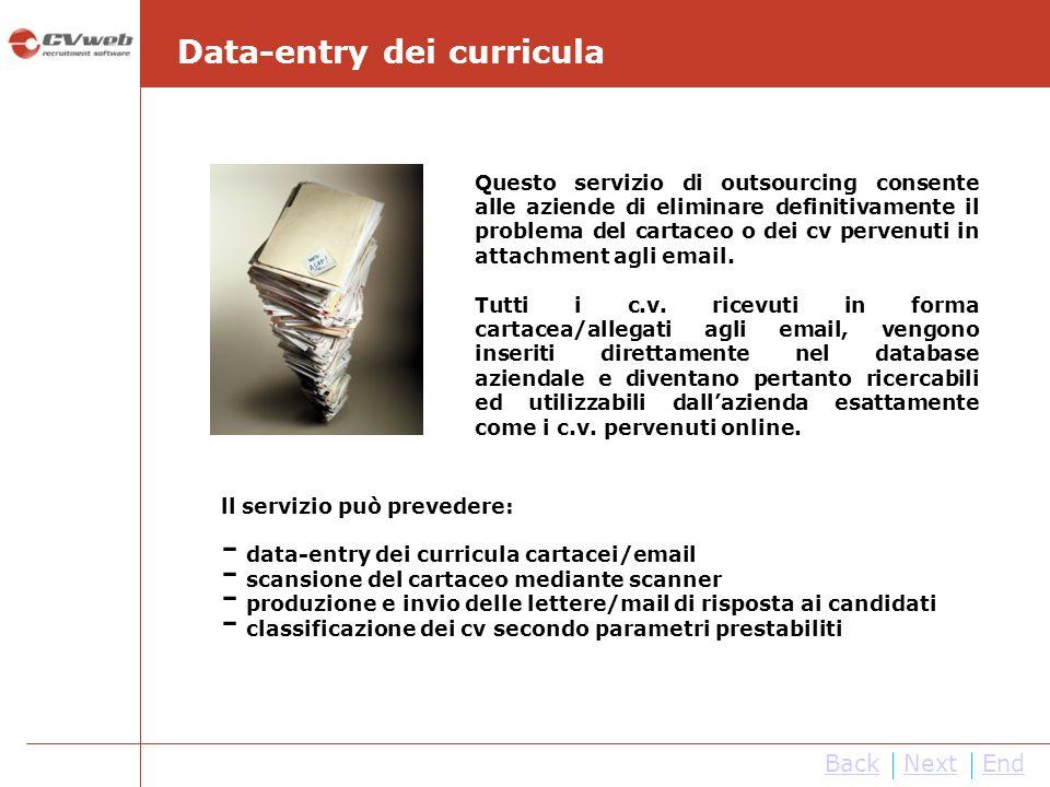 NextEnd Data-entry dei curricula Questo servizio di outsourcing consente alle aziende di eliminare definitivamente il problema del cartaceo o dei cv p
