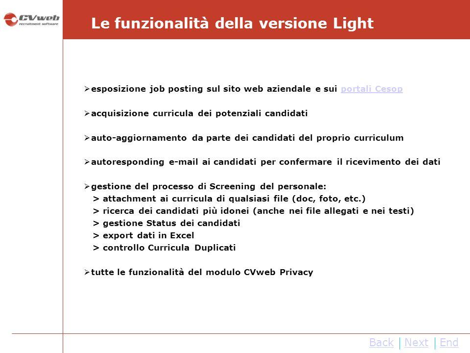 NextEnd Le funzionalità della versione Light Back esposizione job posting sul sito web aziendale e sui portali Cesopportali Cesop acquisizione curricu